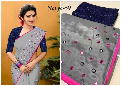 New Sari Bollywood Indian Pakistani Ethnic Bridal Saree Silk Sari Blouse MA