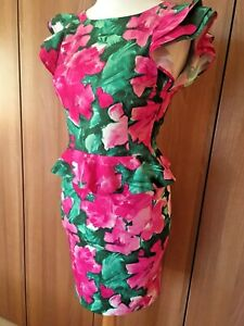 ASOS-Pink-Green-Floral-Print-Dress-Sz-8-WIGGLE-PENCIL-Open-Back-L35-034-Peplum-B14