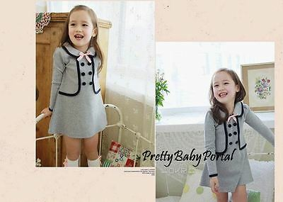 NEW GIRLS Baby Toddler Kid's Clothes Long sleeve Gray One Piece Dress