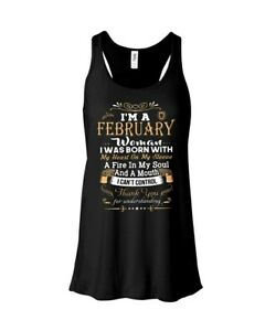 Women-039-s-Queens-Are-Born-In-February-Black-Singlet-Tank-Top-Size-M-10-14