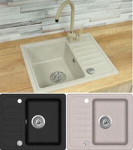 Details zu Spüle Spülbecken GRANIT Küche Einbauspüle 56x46 Schwarz Beige  Neu Design NE70