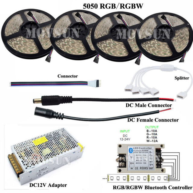 DC12V 5-20M 5050 300LEDs RGB/RGBW LED Strip Light+ Bluetooth Controller+Adapter
