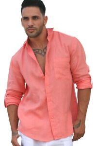 Mens-Bohio-Linen-Coral-Roll-Up-Casual-Long-Sleeve-Shirt-S-2XL-MLS3103