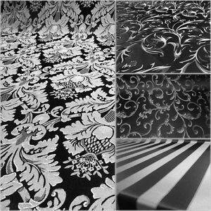 Black-Silver-Damask-Jacquard-Brocade-Fabric-118-034-By-the-Yard-Many-Design