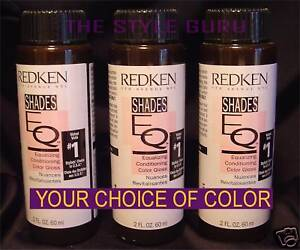 REDKEN SHADES EQ - 3  BOTTLES YOUR CHOICE OF COLOR