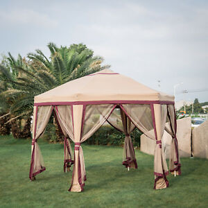 Image Is Loading Hexagonal Patio Gazebo Canopy Mosquito Netting Side Wall