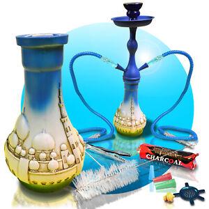2-Schlaeuche-Shisha-Wasserpfeife-Hookah-SET-Mosque-Minarett-blau-mit-Kohle-45-cm