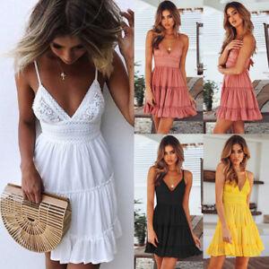 Sexy-Womens-Summer-Straps-Ruffled-Bodycon-Dress-Ladies-Party-Short-Mini-Dress-AU
