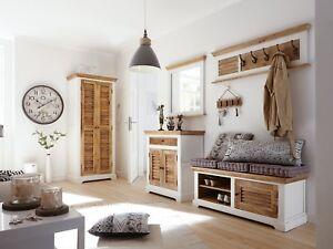 Details zu Flurmöbel Set 4 teilig Spiegel Kommode Bank Garderobe Holz Mango  massiv Tanzania