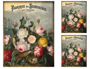 Vintage French Typography Roses Flowers Furniture Size Waterslide Decal FL560