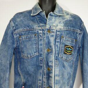 Vintage-80s-Sergio-Valente-Men-039-s-Small-Blue-Jean-Denim-Trucker-Jacket-Acid-Wash