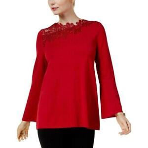 Alfani-Women-039-s-Red-Lace-Trim-Long-Sleeves-Pullover-Sweater-Top-Size-Medium-B1509