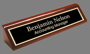 Details About Engraved Desk Name Plate   Rosewood Block   Black Brass Plate  (PNA210)
