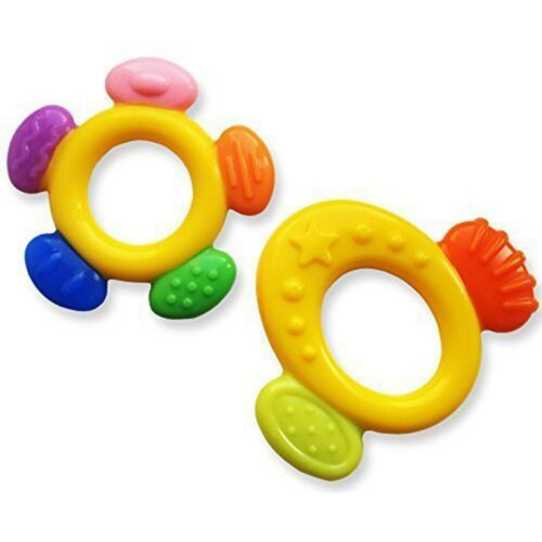 Baby/'s First Teether Set ~ Orange or Purple Teething Ring Chew Boys /& Girls Gift