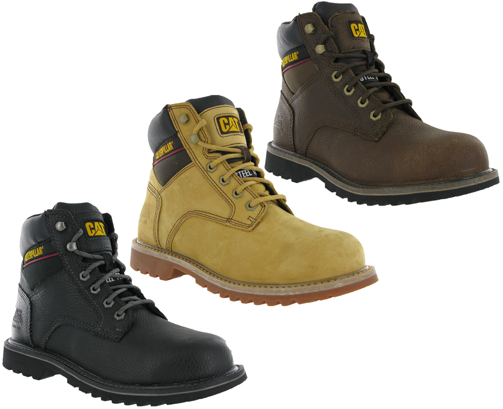 CAT Safety Caterpillar Electric Safety CAT Steel Toe Leather Suede Mens Work Boots UK6-12 454b30