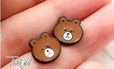 lovely  coffee brown bear  metal earring ear stud earrings 2PCS earring ne