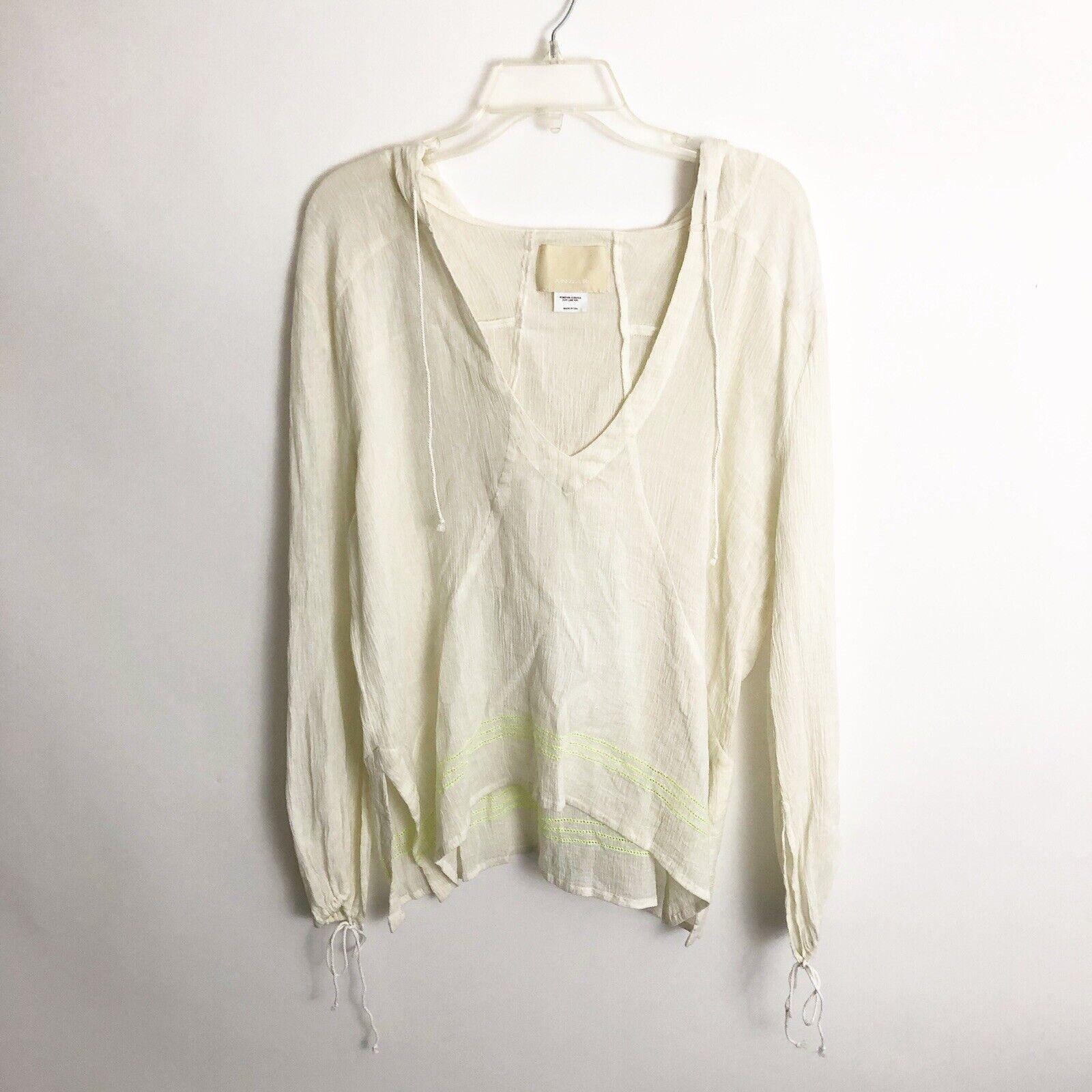 Anaak damen Beach Swim Coverup Shirt One Größe Ivory Neon Gelb Embroiderot