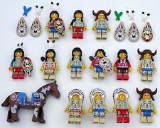 LEGO Lot of 13 Rare Indian/Native American Minifigures + Horses w/ Accessories
