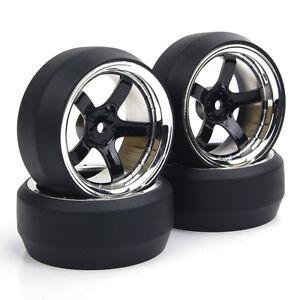 RC-4Pcs-1-10-Drift-Car-Tires-amp-Wheel-Rim-12mm-Hex-for-HSP-HPI-On-Road-model-car