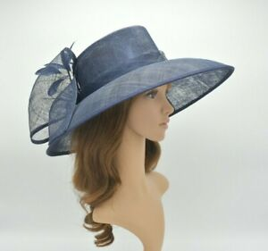 91bd85010f92e M95( Navy Blue ) Kentucky Derby Church Wedding Royal Ascot Wide Brim ...