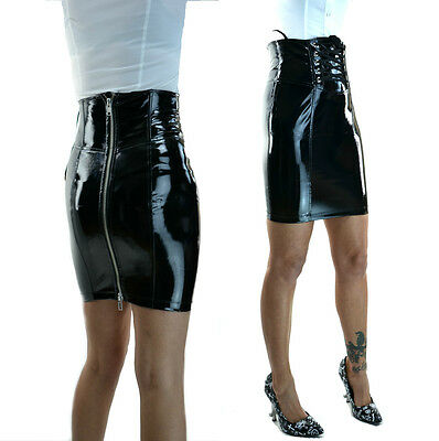 LIP SERVICE PENCIL PVC DOMINATRIX FETISH LATEX LOOK GOTHIC VINYL ZIPPER  SKIRT