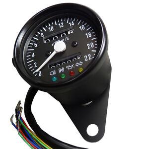 Mini-Tachometer-mit-Kontrolleuchten-schwarz-matt-fuer-Japan-und-USA-Motorrad