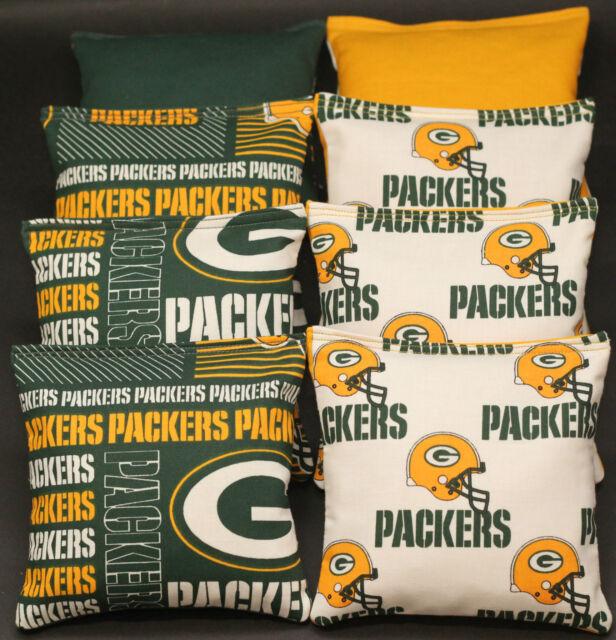 CORNHOLE BEAN BAGS made w GREEN BAY PACKERS fabric logo bags NEW!!