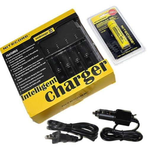 NEW NITECORE i4 V2 Intellicharge 4 slot Charger with 3400mAh 18650 NL189 Battery