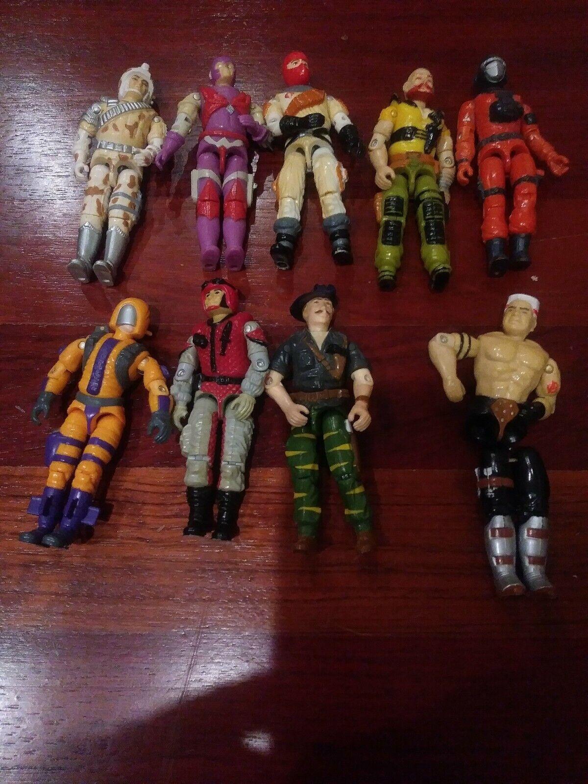 Vintage 1980's HASBRO Lot of 9 G I Joe 3.75  Action Figures Soldiers