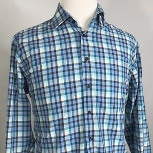NEIMAN-MARCUS-LONG-SLEEVE-BLUE-GINGHAM-CHECK-BUTTON-DOWN-SHIRT-MENS-SIZE-L