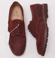$1045 Brunello Cucinelli Rust Waxed Leather Wingtip Shoes Us 12 (eu 45) on sale