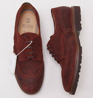 $1045 Brunello Cucinelli Rust Waxed Leather Wingtip Shoes Us 12 (eu 45) on sale