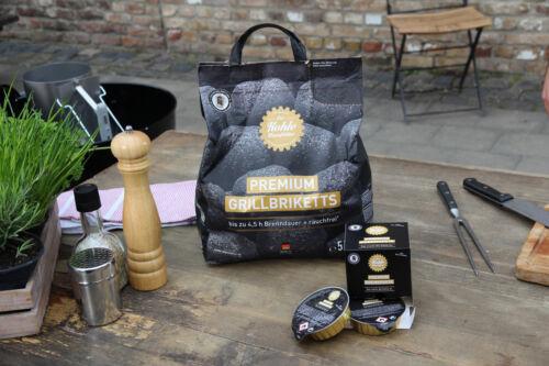 4x Premium Grill Briquettes 5 kg Grill Briquettes enfumés jusqu/'à 4,5 H Incl Pâte