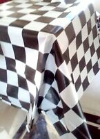 Set Of 3 Black White Checkered Table Covers Tablecloth Racing Cars Nascar Party