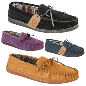 New-Boxed-Mens-Gents-Real-Suede-Slip-On-Moccasin-Tartan-Slippers-Loafer-UK-7-12