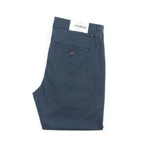 Farah-Elm-Chino-Twill-True-Navy-Dunkelblau-Slim-Fit-Stretch-F4BS6021-Neu