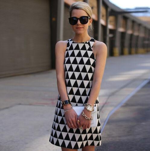 Abitino vintage bianco e nero triangoli vestito anni 60 abito retrò giromaniche