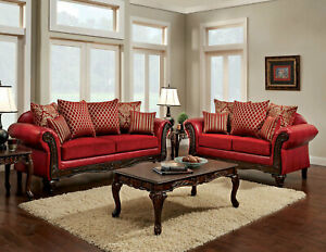 Details about Traditional Design Living Room 2 piece Couch Set - Red Fabric  Sofa Loveseat IGDH
