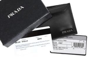 824306e9cf8e Image is loading NEW-PRADA-MILANO-BLACK-LEATHER-LOGO-CREDIT-CARD-