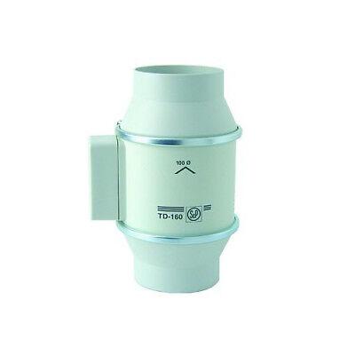 Rohrventilator S&p Td 160/100 Halbradial 160m3 Für 100mm Rohr Lüfter Grow