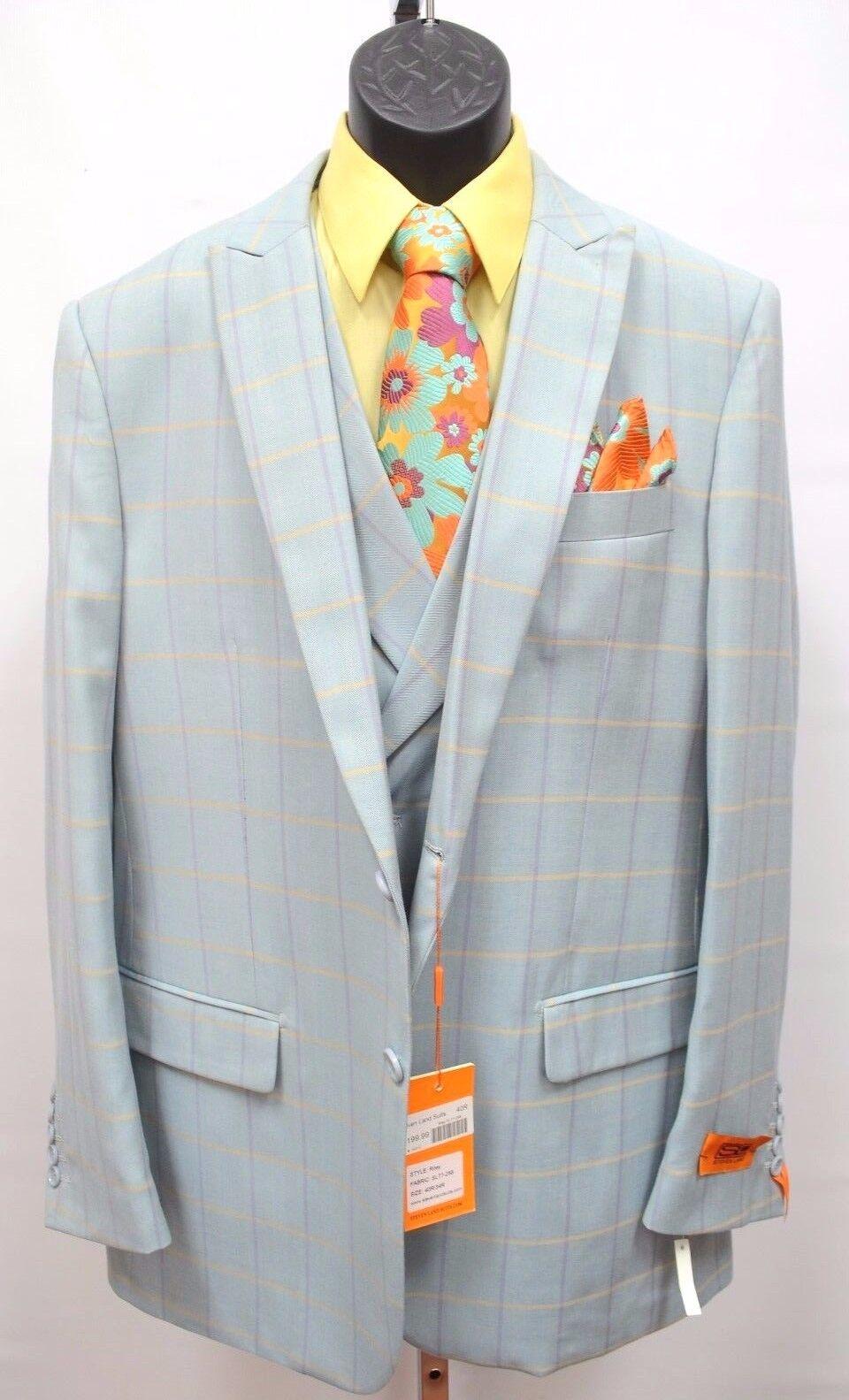 Herren Steven Land 3 PC Suit Windowpane Vested Lt. Mint Riley SL77-258