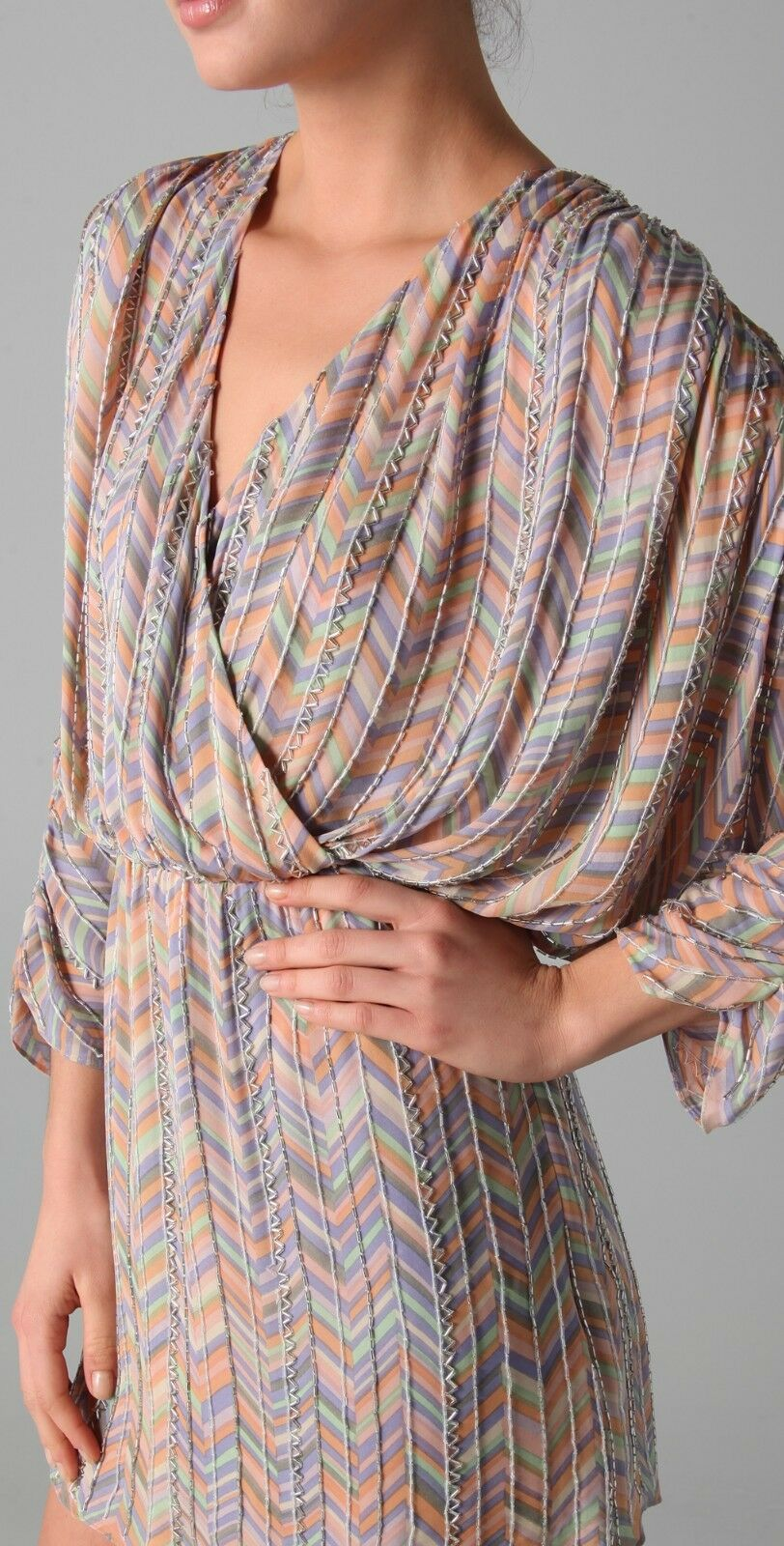 600 New New New Parker Zigzag Beaded Batwing Party Silk Dress size L Large 99dd07