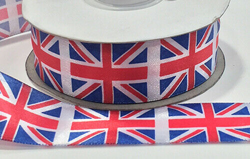 25mm Union Jack woven edge polyester ribbon Full 25M roll PMR09 FREE UK POST