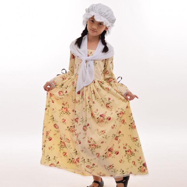 6-14 Years Colonial Kids Costume Civil War Reenactment Girl/'s Pioneer Dress