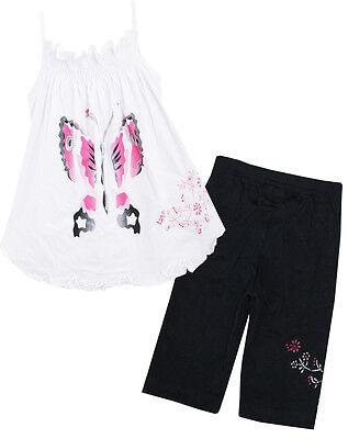 Sunny Fashion 2 Pecs Girls Outfit Set Black Pants White Tank Butterfly SZ 2-6