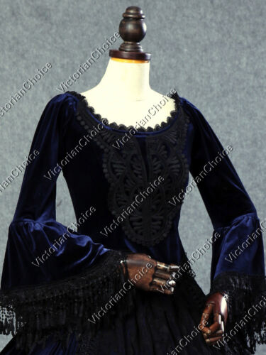 Victorian Costume Dresses & Skirts for Sale    Victorian Gothic Velvet Queen Dress Ball Gown Steampunk Costume NAVY 153  AT vintagedancer.com