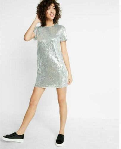 nwt EXPRESS SEQUIN BLING SILVER holiday tee shirt dress xs  L ADORABLE!