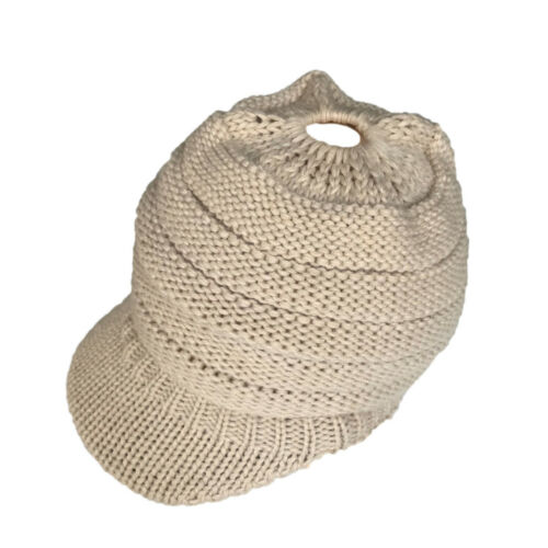Fashion Women/'s Stretch Knit Hat Messy Bun Ponytail Beanie Winter Warm Hole Hat