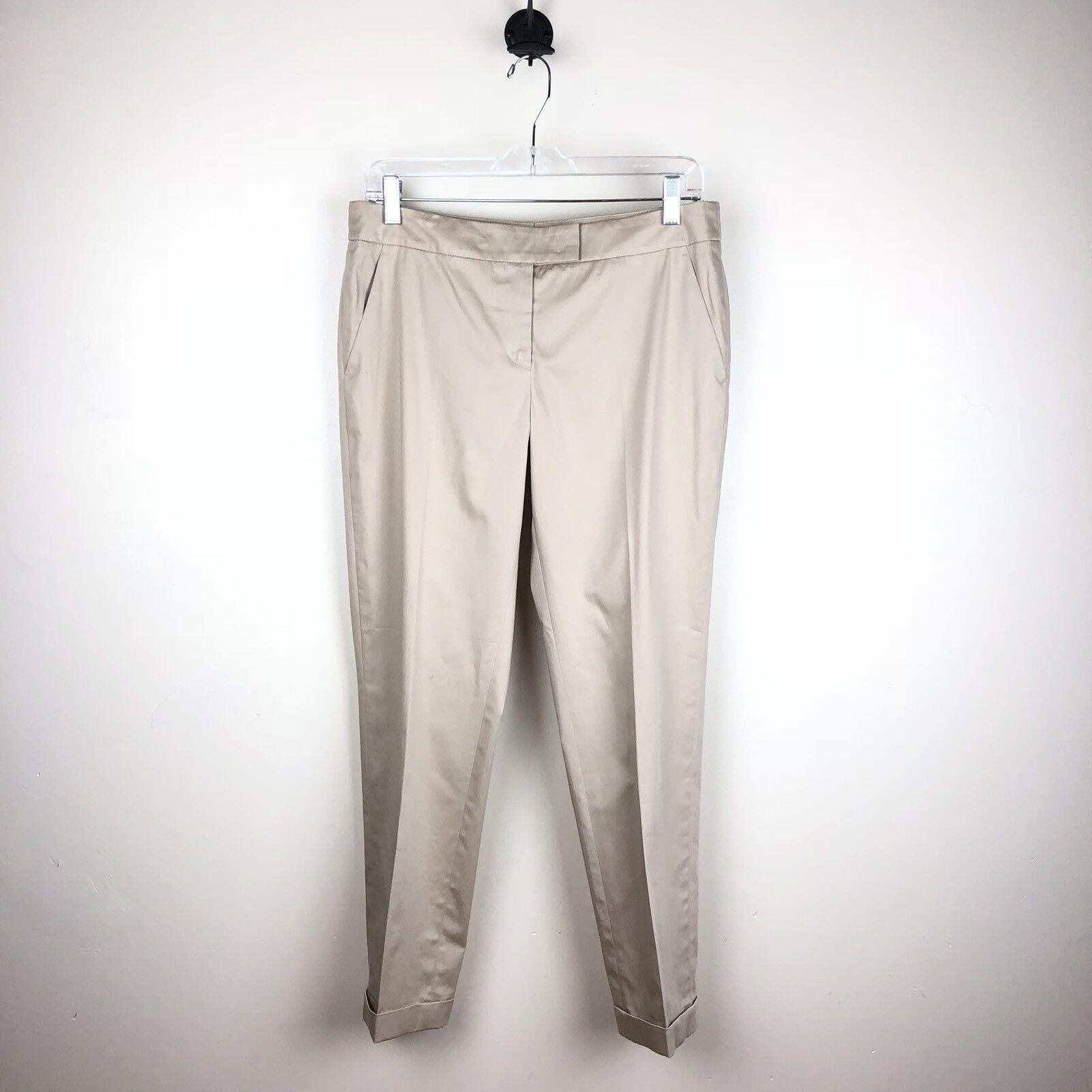 Akris Punto Women's Cuffed Khaki Cropped Straight Leg Capri Pants Size 6