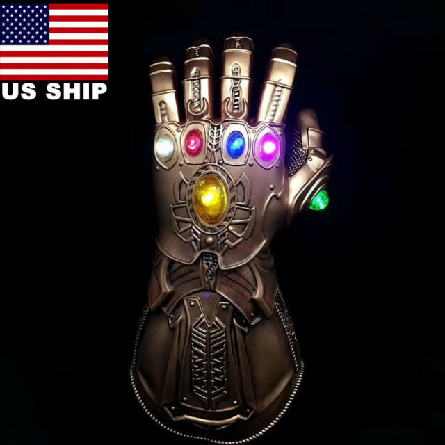 US! Avengers Infinity War Thanos LED Light Gauntlet Gloves Cosplay Costume Hot